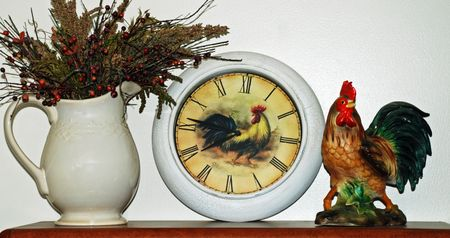 Rooster and clock