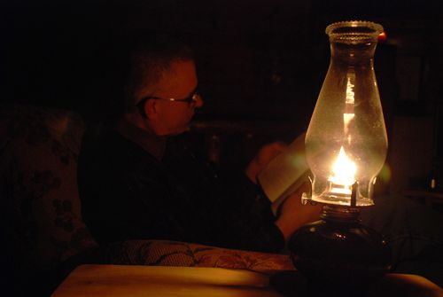 Reading by oil light