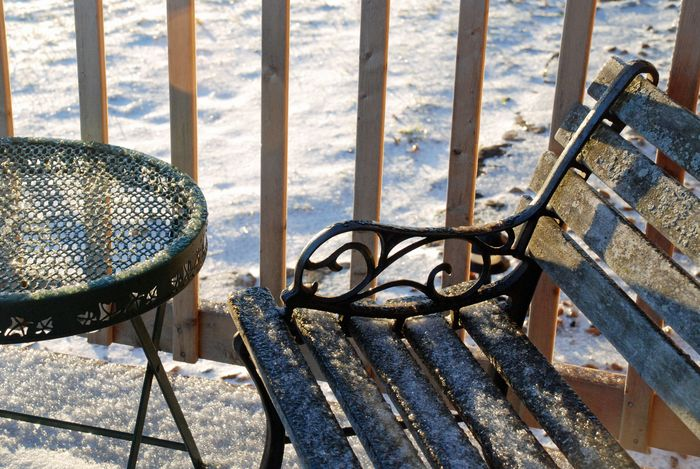 Icy bench and table