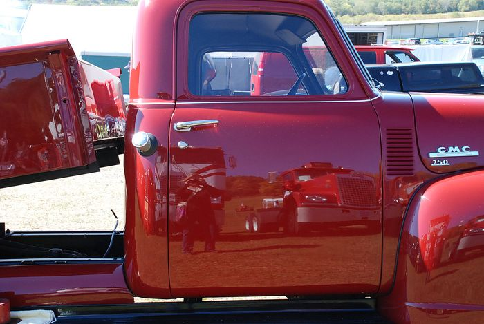Reflection in red truck