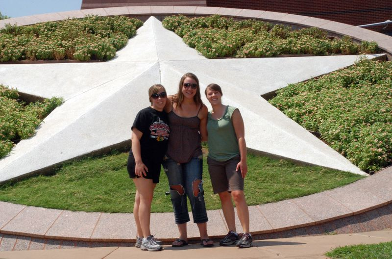 In front of the star
