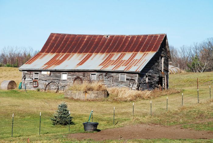 Decorated barn and fence