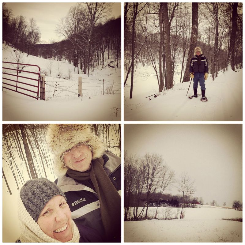Snowshoeing collage