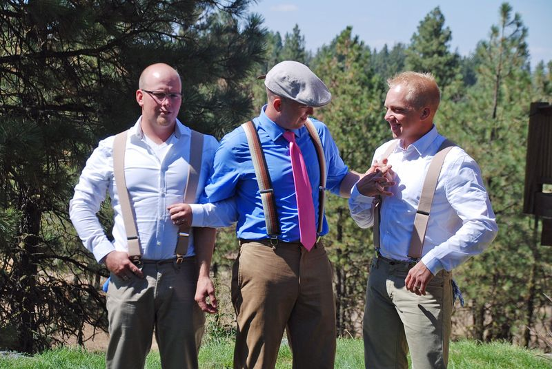 Candid groom and groomsmen